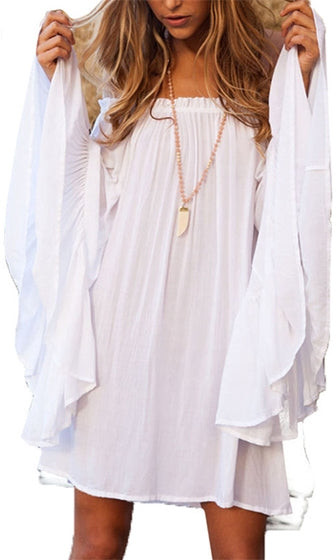 Final Encore White Elastic Off The Shoulder Long Bell Sleeve Loose Tunic Top - Sold out