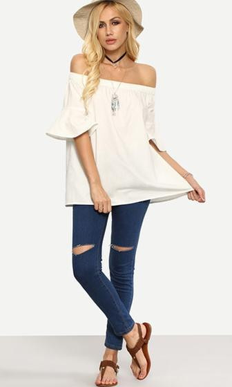 Natural Grace White Flared Elbow Sleeve Off The Shoulder Loose Blouse - Sold out