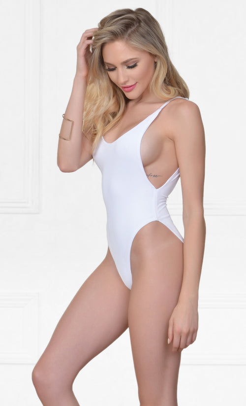 Indie XO New Desire White Spaghetti Strap Scoop Neck Cut Out Side One Piece Swimsuit