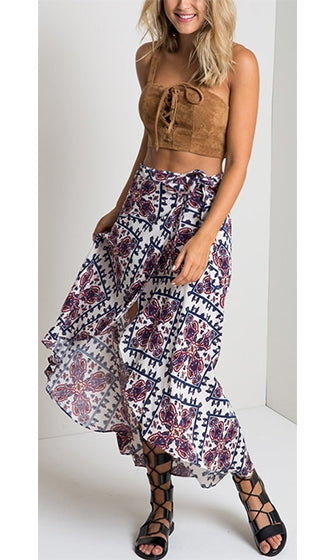 Cosmic Guide White Blue Red Paisley Floral Tie Waist High Low Asymmetric Wrap Midi Maxi Skirt- Sold Out - Sold out