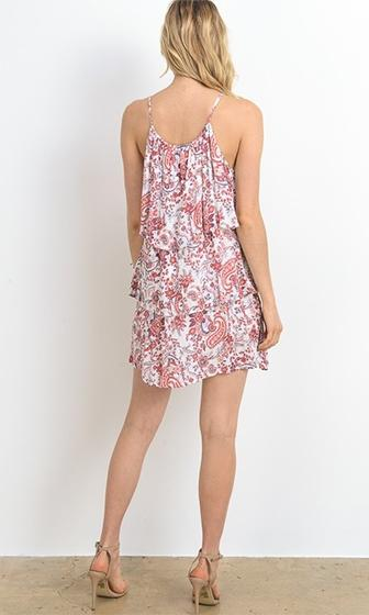 Feast Your Eyes White Pink Paisley Floral Sleeveless Spaghetti Strap Scoop Neck Tiered Tassel Mini Dress - Sold Out
