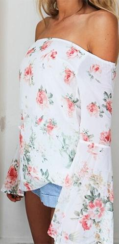 Garden Grove White Pink Green Floral Long Bell Sleeve Off The Shoulder Loose Chiffon Blouse - Sold Out