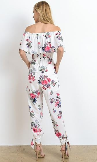 First In Line White Pink Floral Off The Shoulder Ruffle Jumpsuit - Sold Out