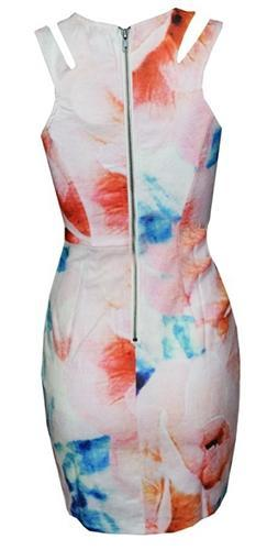 Primrose Path White Blue Beige Orange Pink Floral Sleeveless Cut Out Accent Scoop Neck Tulip Bodycon Mini Dress - Sold Out