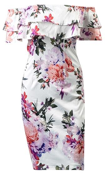 Lover's Holiday White Pink Purple Green Floral Tiered Off The Shoulder Mini Dress - Sold Out