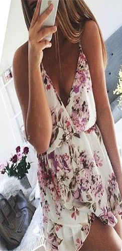 English Garden White Pink Purple Green Floral Spaghetti Strap Cross Wrap V Neck Ruffle Trim Short Romper - Sold Out