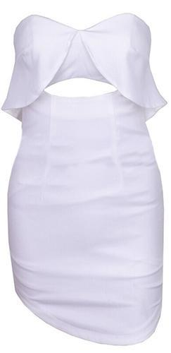 Peekaboo White Pink Strapless Cut Out Ruffle Trim Bodycon Mini Dress - Sold Out
