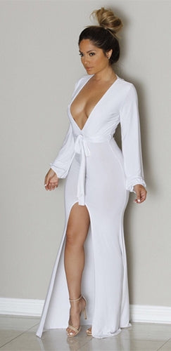 Nothing To Hide White Long Sleeve Plunge V Neck Tie Waist High Slit Jersey Maxi Dress - Sold Out