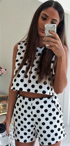 Don't Look Back White Black Polka Dot Sleeveless Crew Neck Crop Tank Shorts Two Piece Romper - Sold Out