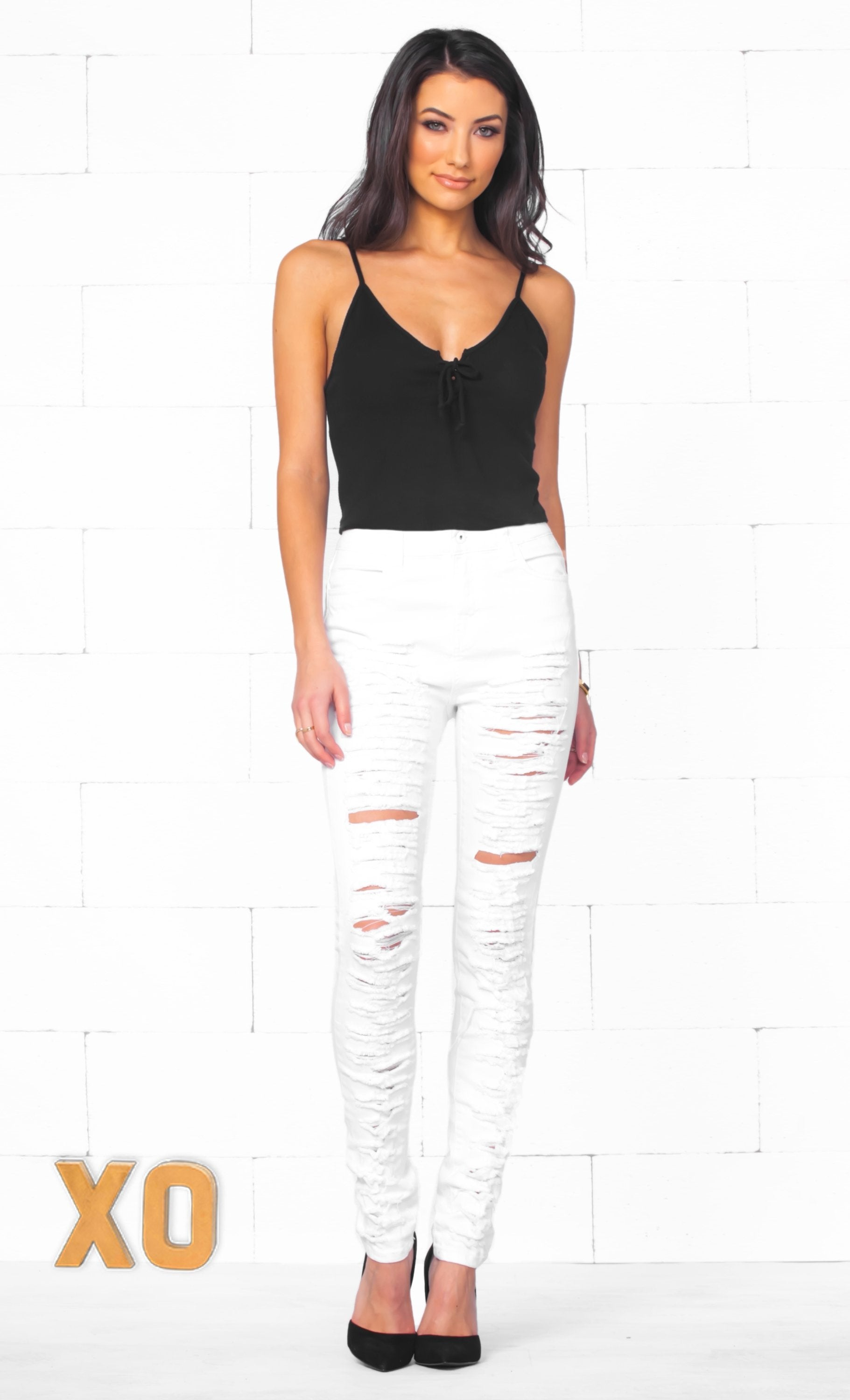 Indie XO Rock On White Destroyed Ripped High Waisted Stretchy Skinny Pencil Jeans Denim Pant - Just Ours! - Sold out