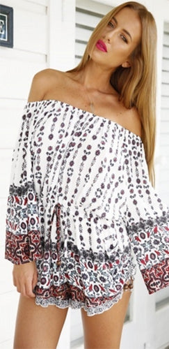 Festival Flirt White Red Black Floral Geometric Long Sleeve Off The Shoulder Tie Waist Short Ruffle Romper - Sold Out