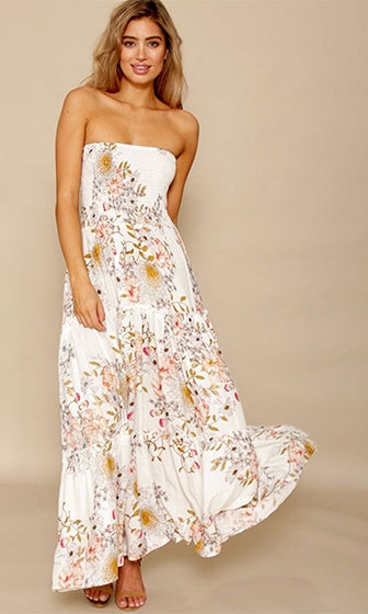 Now And Forever White Floral Strapless Smocked Ruffle Maxi Dress - Sold Out