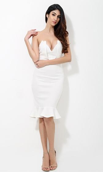 Off The Charts White Strapless Plunge V Neck Bustier Bodycon Ruffle Trim Midi Dress