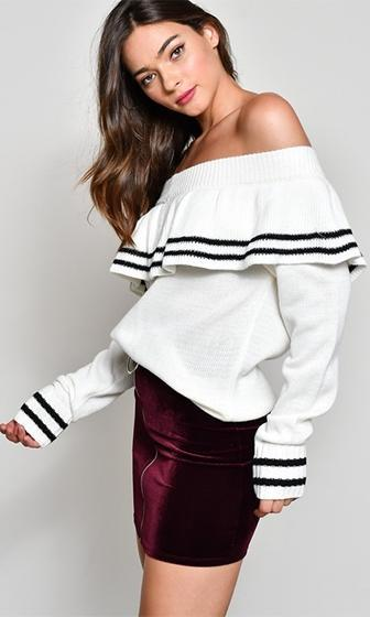 Casual Romance Ivory Black Stripe Long Sleeve Ruffle Off The Shoulder Pullover Sweater - Sold Out