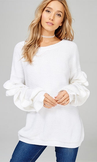 Chilling Out White Long Sleeve Ruffle Scoop Neck Pullover Tunic Sweater (Pre-Order)