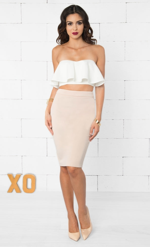 Indie XO Please Me White Strapless Crop Ruffle Top - Just Ours!