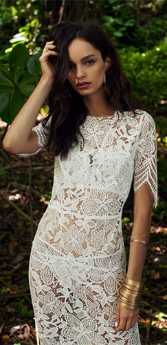 Divine Devotion White Scallop Lace Short Sleeve Scoop Neck Cut Out Back Side Slit Midi Dress - Sold Out