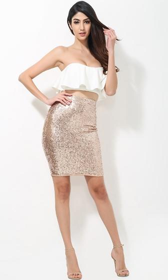 Focus on Me White Gold Sequin Strapless Crop Ruffle Tank Bodycon Mini Two Piece Dress - Sold Out