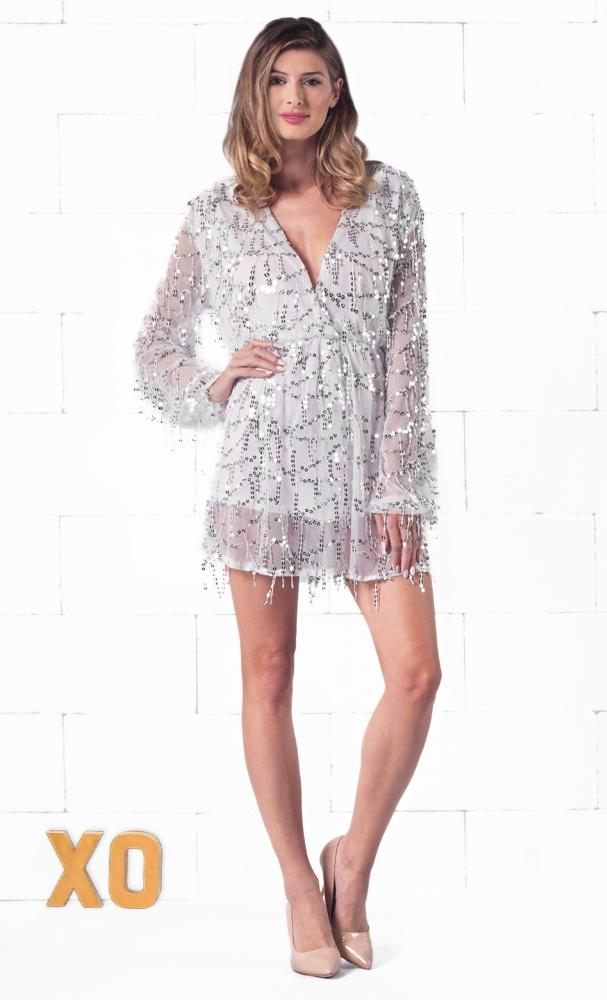 Indie XO Shooting Stars White Silver Sequin Long Sleeve Fringe Plunge V Neck Romper Playsuit - Just Ours!