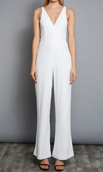 ad13c37c9f3 I m Your Addiction White Sequin Sleeveless V Neck Wide Leg Jumpsuit - Sold  Out