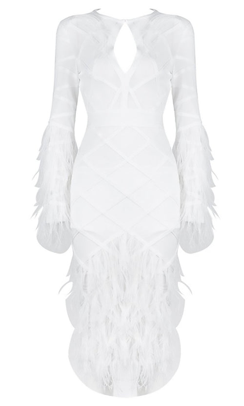 Off The Runway White Sheer Mesh Long Sleeve Round Neck Keyhole Feather Bandage Midi Dress