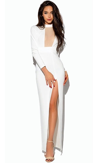 Love Bound White 3/4 Sleeve Sheer Mesh Mock Neck High Slit Maxi Dress - Sold Out