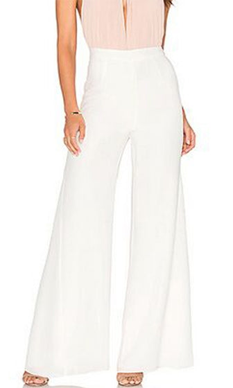 Simple Seduction White Silk High Waist Wide Leg Palazzo Pants - Sold Out