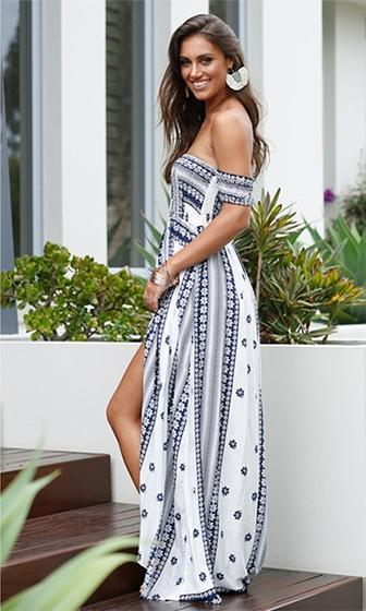 Into The Blue White Floral Short Sleeve Smocked Off The Shoulder Split Maxi Dress - Sold Out
