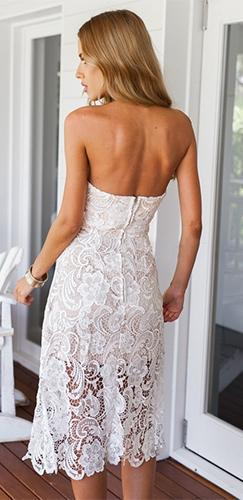 Everlasting Love White Floral Lace Strapless V Neck A Line Midi Dress - Sold Out