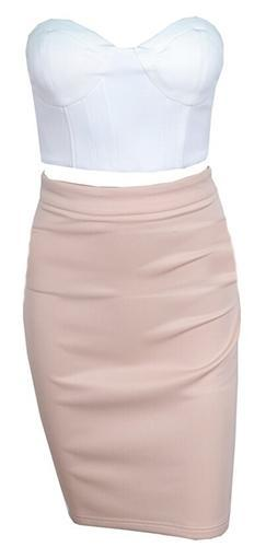 Park Avenue Princess White Beige Strapless Bustier Crop Asymmetric Bodycon Midi Two Piece Dress - Sold Out