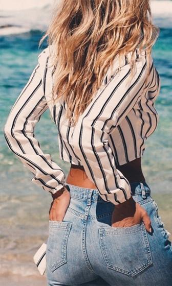 Good Vibrations White Black Grey Vertical Stripe Long Sleeve V Neck Tie Front Knotted Crop Blouse - Sold Out