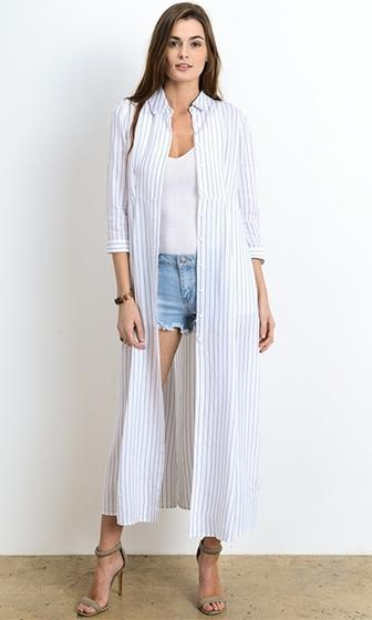 In With The New White Blue Vertical Stripe 3/4 Sleeve Button Blouse Maxi Dress - Sold Out
