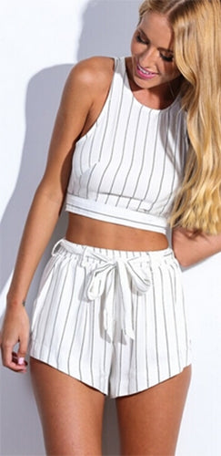 Honest to Goodness White Black Vertical Stripe Sleeveless Scoop Neck Cut Out Crop Tank Tie Waist Shorts Two Piece Romper - Sold Out