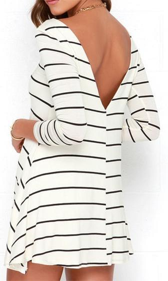 Easy Going White Black Horizontal Stripe Long Sleeve Scoop Neck Skater Circle A Line Flare Mini Tee Shirt Dress - Sold Out