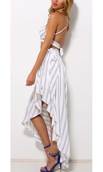Main Line White Black Vertical Stripe Tie Waist High Low Asymmetric Wrap Midi Maxi Skirt - Sold Out