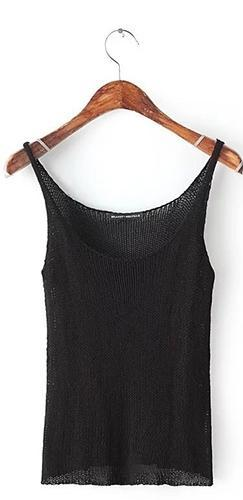 Long Weekend White Black Spaghetti Strap Scoop Neck Sweater Knit Tank Top - Sold Out