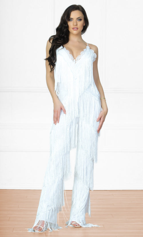 Indie XO I'm With You White Sleeveless Spaghetti Strap V Neck Tassel Fringe Jumpsuit