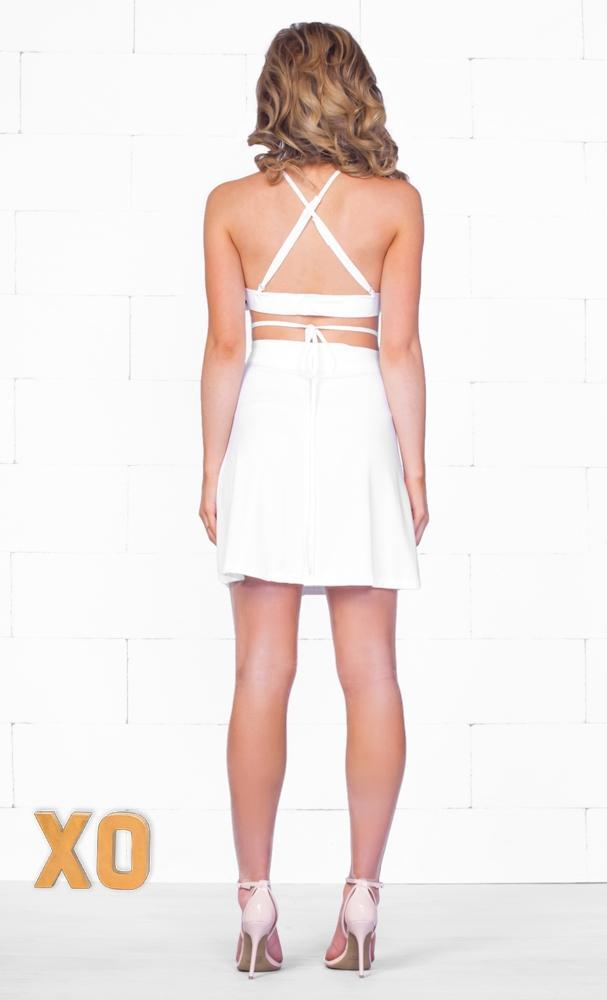 Indie XO Beautifully Bold Two Piece White Spaghetti Strap Scoop Neck Halter Crisscross Laced Cut Out Mini Skater Dress - Just Ours! Sold Out
