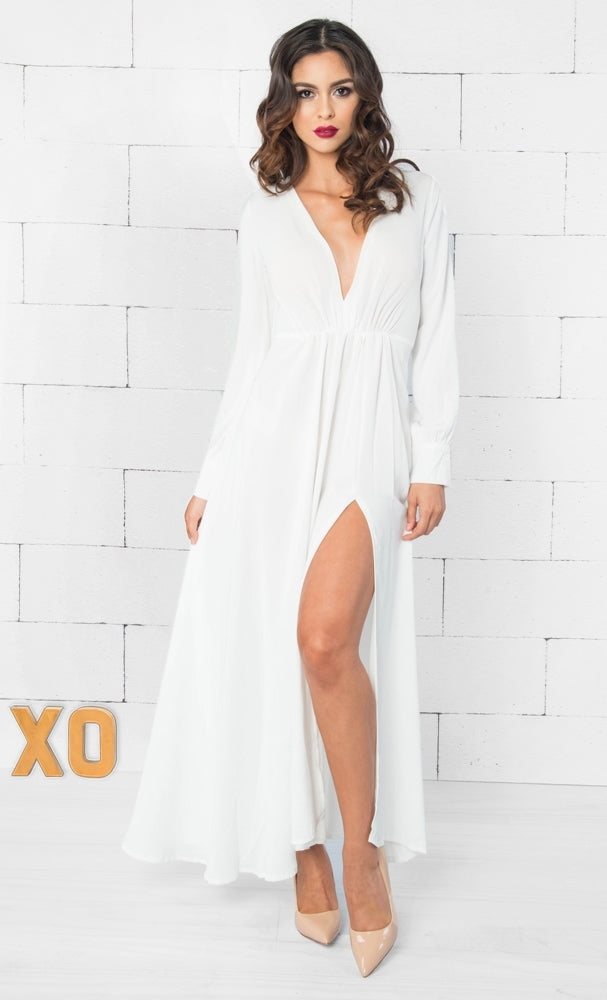 Indie XO Earth Angel White Long Sleeve Plunge V Neck Shirred Pleated High Slit Maxi Dress - Sold Out