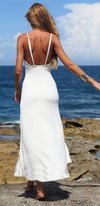 Everlasting Paradise White Spaghetti Strap V Neck Slit Front Maxi Dress - Sold Out