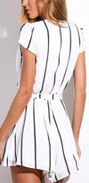 Calling All The Shots White Black Vertical Stripe Short Sleeve Cross Wrap V Neck Tie Waist Short Romper - Sold Out