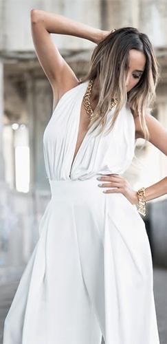 18e7b346f921 Style Setter White Sleeveless V Neck Backless Halter Wide Leg Palazzo  Jumpsuit - Sold Out
