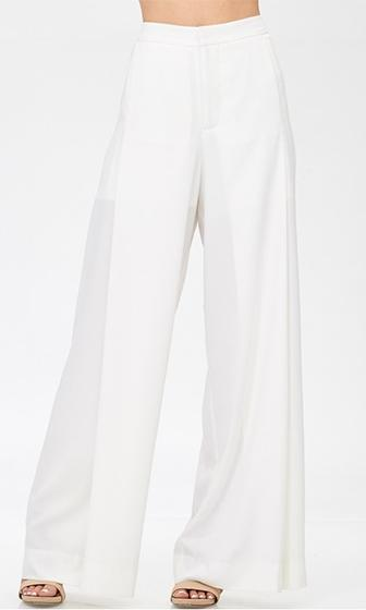 Power Move White High Waist Wide Leg Pants (Pre-Order)
