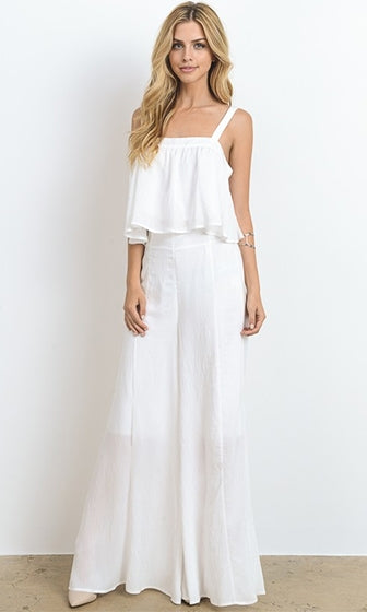 Hamptons Hottie White Sleeveless Ruffle Tank Wide Palazzo Leg Pant Two Piece Set Jumpsuit (Pre-Order) - Sold Out