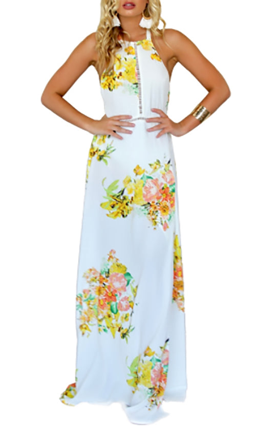 Bouquet Of Love White Yellow Floral Spaghetti Strap Sleeveless Halter Backless Casual Maxi Dress