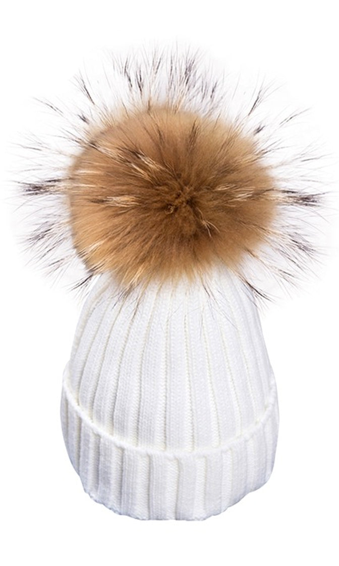 Big Chill White Removable Fur Pompom Rib Cuff Beanie Hat