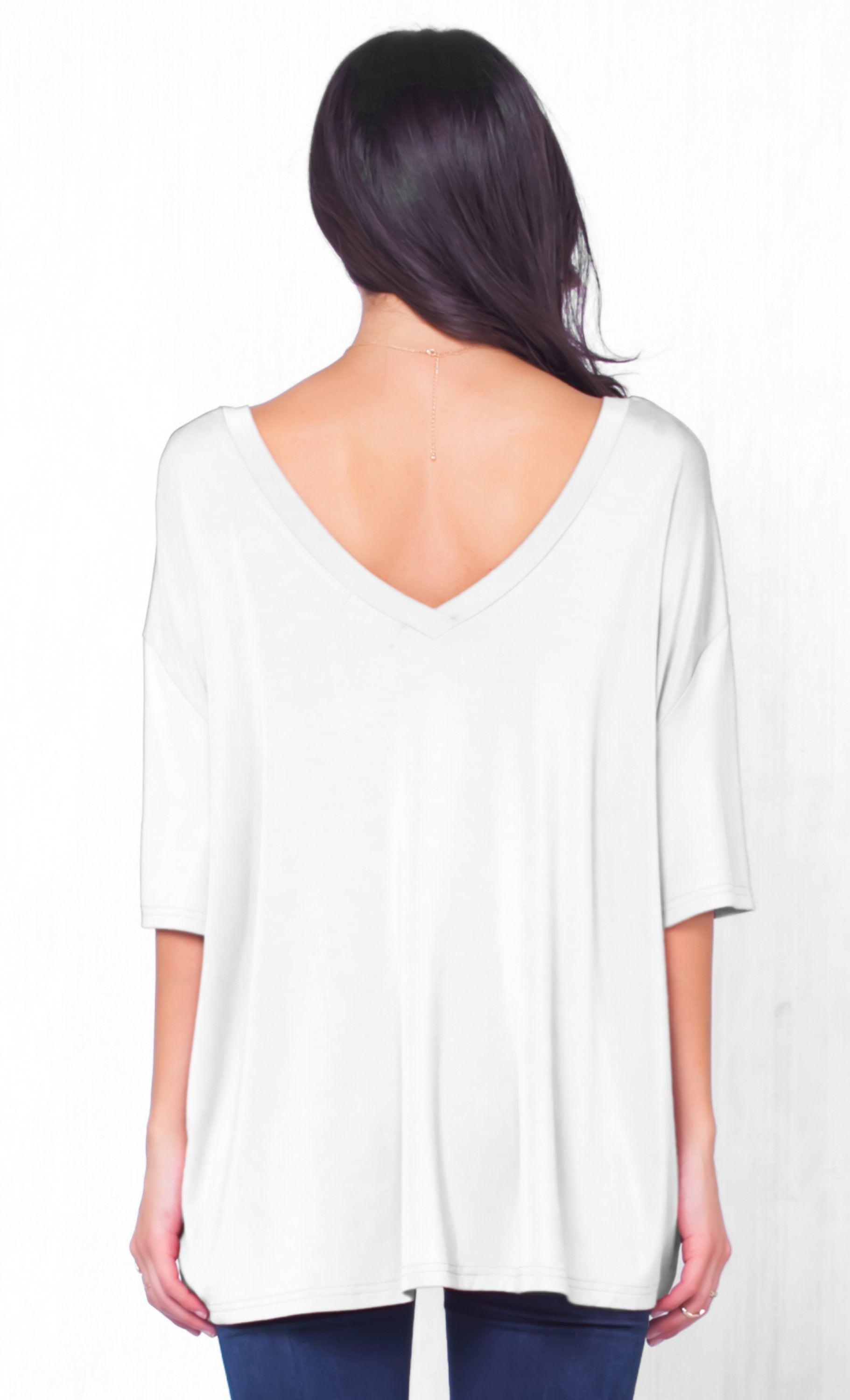 Piko 1988 Bamboo White Short Dolman Sleeve Double V Neck Bamboo Basic Loose Tunic Tee Top