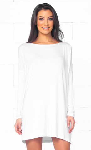 Basic Piko 1988 White Bamboo Piko Comfy Boat Neck Long Sleeve Slouchy Knit Tee Shirt Top