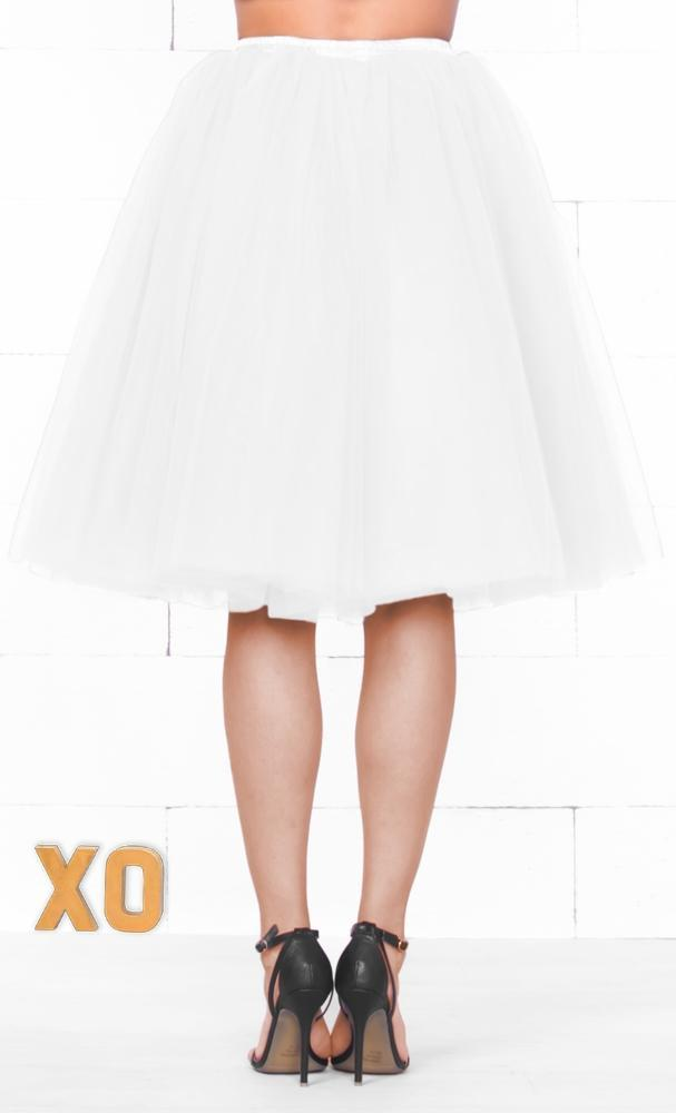 Indie XO 7 Layer On Pointe White Tulle Pleated Ballerina A Line Full Midi Skirt - Just Ours! - Sold Out