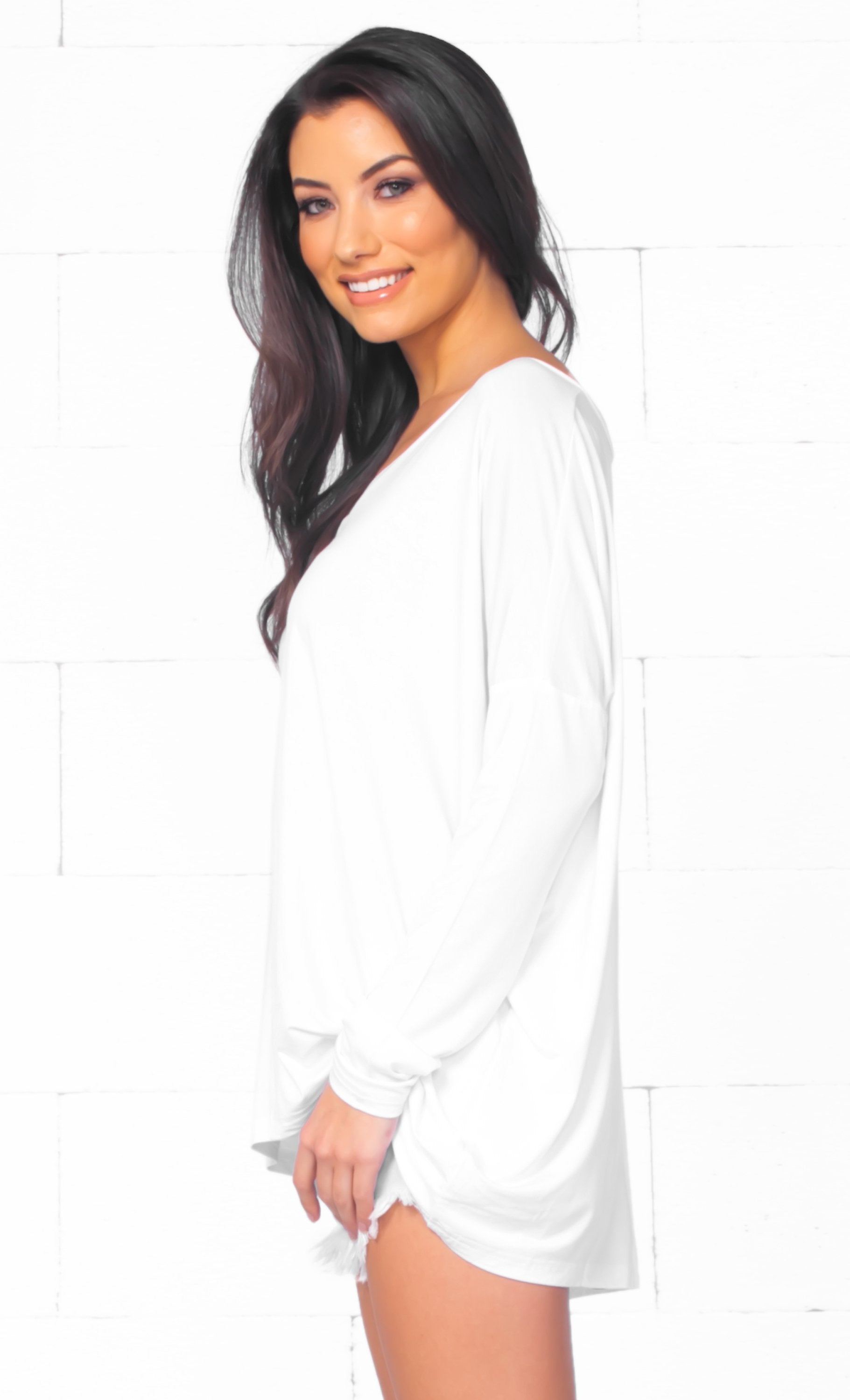 Piko 1988 Bamboo White Long Dolman Sleeve V Neck Piko Bamboo Basic Loose Tunic Tee Top
